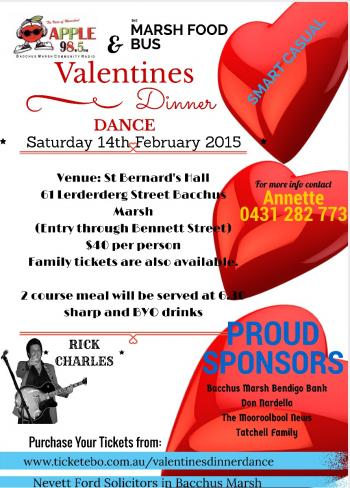 Valentines Dinner Dance - Bacchus Marsh VIC