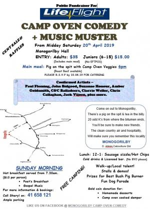 Apr 20 Monogorilby Camp Oven Comedy & Music Muster