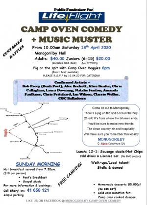 Monogorilby Camp Oven Comedy & Music Muster : Cancelled