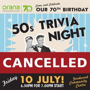 Cancelled : Orana 50s Trivia Night