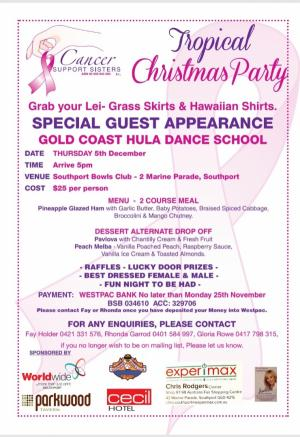 Dec 05 Cancer Support Sisters Inc Tropical Xmas Party
