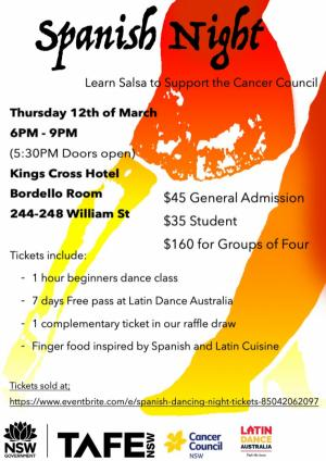 Mar 12 Spanish night : Dance salsa to support Cancer Council