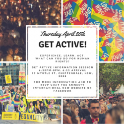 Get Active with Amnesty NSW! April 2018