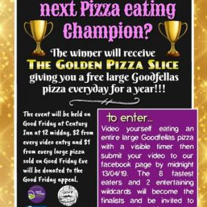 Pizza Eating Competition for Good Friday Appeal