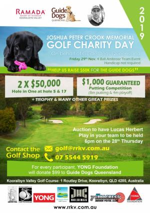 Joshua Peter Crook Memorial Golf Charity Day for Guide Dogs QLD