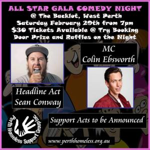 Perth Homeless Support Group Comedy Night Fundraiser : All Star Gala