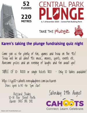 Aug 29 Karens Taking the Plunge Quiz night