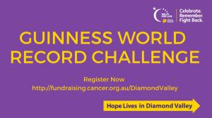 Break a Guinness World Record at the Diamond Valley Relay For Life