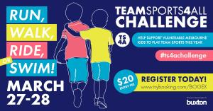 Mar 27 Get active challenge! Help support vulnerable Melbourne kids to play team sport this year.