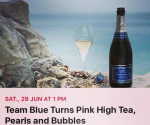 Team Blue Turns Pink High Tea Pearls and Bubbles