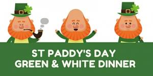 St Paddys Day Green & White Dinner