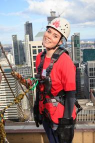 It's all smiles before going over the edge for children in foster care