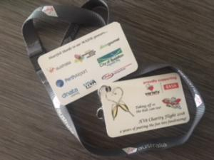 A lanyard tag with all our sponsors