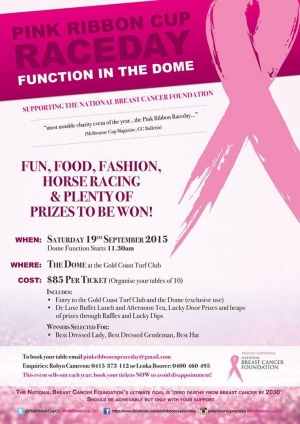Sat Sept 19 Gold Coast Pink Ribbon Cup Race Day for National Breast Cancer Foundation