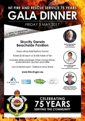 May 5 NT Fire and Rescue Service 75 Years Gala Dinner - Darwin