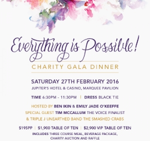 Feb 27 - Support the Perry Cross Spinal Research Foundation Everything Is Possible Charity Gala Dinner - Gold Coast