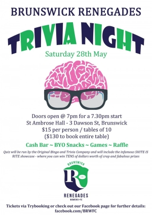May 28 - Renegades FC Trivia Fundraiser - Brunswick Melbourne