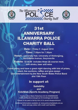 August 5 Illawarra Police Charity Ball in Support of KidzWish - Wollongong NSW