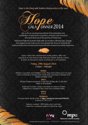 Support the Hope Gala Dinner for Melanoma Patients Australia