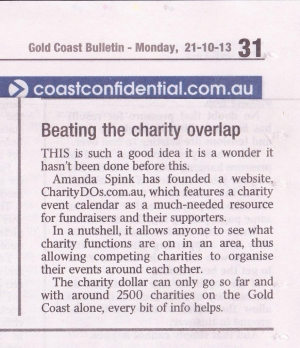 CharityDOs Story in the Gold Coast Bulletin