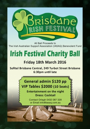 Support Fri Mar 18 Irish Festival Charity Ball - Brisbane