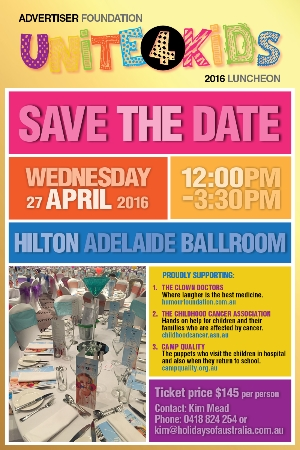 Support Wed April 27 Unite4Kids Luncheon for The Childhood Cancer Association - Adelaide