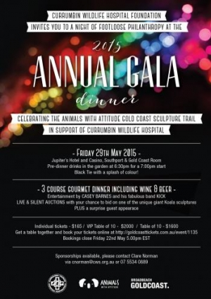 Support May 29 Currumbin Wildlife Hospital Foundation Annual Gala Dinner